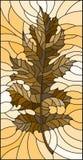 L'illustrazione del vetro macchiato con la foglia, tonifica il marrone, seppia Immagini Stock Libere da Diritti