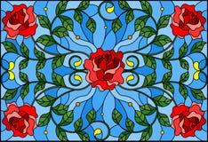 L'illustrazione del vetro macchiato con la rosa rossa si ramifica su fondo blu, immagine rettangolare royalty illustrazione gratis