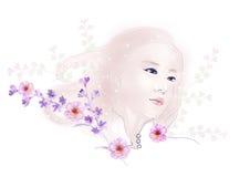 L'illustrazione dell'acquerello fiorisce e ritratto di bella donna nel fondo semplice Fotografie Stock