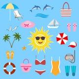 L'illustrazione dell'estate delle stuoie della spiaggia e gli accessori della spiaggia sul fondo e sul mare della sabbia pratican Immagine Stock