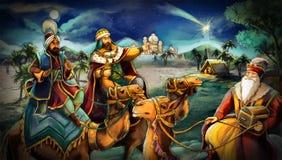 L'illustrazione della famiglia santa e di tre re Fotografie Stock Libere da Diritti