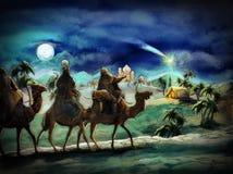 L'illustrazione della famiglia santa e di tre re Fotografia Stock Libera da Diritti