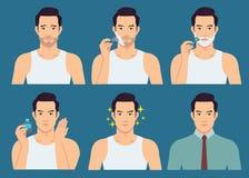 L'illustrazione della fase dell'uomo bello rade la sua barba illustrazione vettoriale