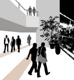 L'illustrazione della gente nella costruzione Fotografie Stock Libere da Diritti
