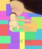 L'illustrazione della madre bacia il suo bambino Fotografia Stock Libera da Diritti