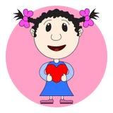 L'illustrazione della ragazza con cuore in mani Valentine Card, Val Fotografia Stock