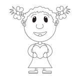L'illustrazione della ragazza con cuore in mani Valentine Card, Val Immagini Stock