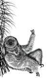 L'illustrazione della siluetta strutturata nera del bradipo, quello si siede sotto la canna del cespuglio Isolato su priorità bas Immagine Stock