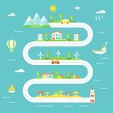 L'illustrazione della strada con le montagne, i campi, città, avvolge le stazioni, il campo e le aree elettrici della spiaggia Tu Fotografia Stock Libera da Diritti
