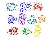 L'illustrazione delle piante di mare del fumetto, dei pesci ecc Fotografia Stock