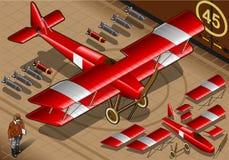 Biplano rosso isometrico atterrato nella vista frontale Immagine Stock
