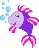 L'illustrazione di colore di piccolo pesce porpora sveglio, sorridente, con le bolle, perfeziona per il libro per bambini illustrazione vettoriale