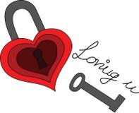 L'illustrazione di cuore ha modellato la serratura con una chiave Fotografia Stock Libera da Diritti