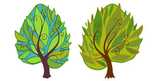 L'illustrazione di due alberi del fumetto Immagine Stock Libera da Diritti