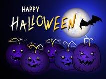 L'illustrazione di Halloween di vettore con le zucche di Halloween si dirige, batte e manda un sms a Fotografia Stock