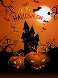 L'illustrazione di Halloween di vettore con le zucche si dirige, fortifica e manda un sms a Fotografia Stock Libera da Diritti