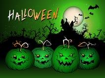 L'illustrazione di Halloween di vettore con le zucche si dirige, fortifica e manda un sms a Fotografie Stock Libere da Diritti