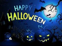 L'illustrazione di Halloween di vettore con le zucche si dirige, fortifica, pipistrelli e testo Immagini Stock Libere da Diritti