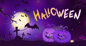 L'illustrazione di Halloween di vettore con le zucche si dirige, tombe, pipistrelli e testo Immagine Stock Libera da Diritti