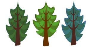 L'illustrazione di tre alberi attillati del fumetto Fotografia Stock