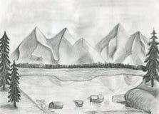 L'illustrazione di un lago della montagna Fotografia Stock Libera da Diritti