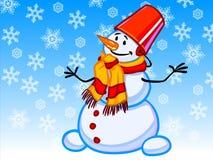 L'illustrazione di un pupazzo di neve del fumetto con i fiocchi di neve Fotografia Stock Libera da Diritti