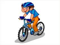 L'illustrazione di un ragazzo del fumetto su una bicicletta Fotografia Stock