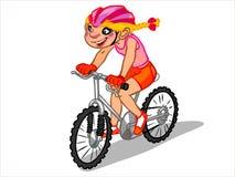 L'illustrazione di una ragazza del fumetto su una bicicletta Immagine Stock