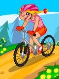 L'illustrazione di una ragazza del fumetto sulla bicicletta Fotografia Stock