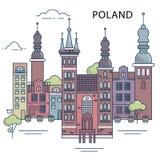 L'illustrazione di vecchia città in Polonia Immagini Stock Libere da Diritti
