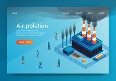 L'illustrazione di vettore è scritta l'inquinamento atmosferico 3d illustrazione vettoriale