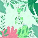 L'illustrazione di vettore con il piccolo scarabeo sveglio di volo in fogliame con motiva il ` che di frase posso pilotare il ` s royalty illustrazione gratis