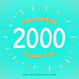 L'illustrazione di vettore con le cifre bianche 2000 e testo arancio vi ringrazia seguaci su fondo blu-verde royalty illustrazione gratis