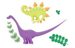 L'illustrazione di vettore del diplodocus dei dinosauri del fumetto ha isolato il predatore preistorico animale del rettile del c Fotografia Stock Libera da Diritti