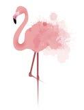 L'illustrazione di vettore del fenicottero rosa con l'acquerello schizza Fotografia Stock