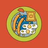 L'illustrazione di vettore del piatto della prima colazione Fotografia Stock Libera da Diritti