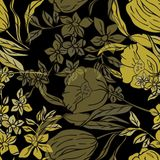 L'illustrazione di vettore dell'annata ha ispirato i narcisi ed i tulipani gialli dorati stilizzati illustrazione vettoriale