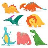 L'illustrazione di vettore dell'insieme dei dinosauri luminosi adorabili Raccolta sveglia di Dino del fumetto Fotografia Stock Libera da Diritti