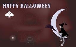 L'illustrazione di vettore di una strega con una scopa da guidare sulla luna viene Halloween Fotografia Stock