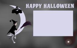 L'illustrazione di vettore di una strega con una scopa da guidare sulla luna viene Halloween Fotografie Stock Libere da Diritti