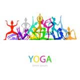 L'illustrazione di vettore di yoga posa la siluetta della donna fotografia stock libera da diritti