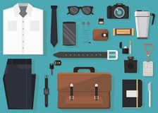 L'illustrazione di vettore di ogni giorno porta ed equipaggia il accessorie nello stile piano Fotografia Stock