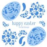 L'illustrazione di vettore di Pasqua ha messo con le uova di Pasqua decorate in stile russo e fiori Immagini Stock Libere da Diritti