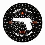L'illustrazione di vettore tiene la calma e porta la pistola Pistola di immagine Fotografie Stock