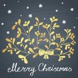 """L'illustrazione disegnata gesso colorata con il ramo del vischio, i fiocchi di neve e """"il Buon Natale"""" mandano un sms a Fotografia Stock"""