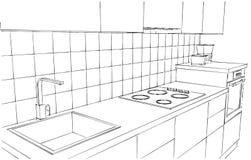 L'illustrazione disegnata a mano del contatore di cucina contemporaneo ha isolato in bianco e nero Immagine Stock Libera da Diritti