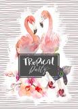 L'illustrazione disegnata a mano dell'acquerello delle orchidee tenere si ramifica e fenicottero due su fondo rosa con le linee t Fotografie Stock