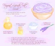 L'illustrazione disegnata a mano di vettore del sale fragrante della lavanda sfrega la ricetta illustrazione vettoriale