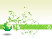 L'illustrazione floreale astratta ricicla con il globo Immagini Stock Libere da Diritti