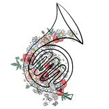 L'illustrazione grafica disegnata a mano di vettore del corno francese con i fiori, foglie schizza il disegno, stile di scarabocc illustrazione vettoriale